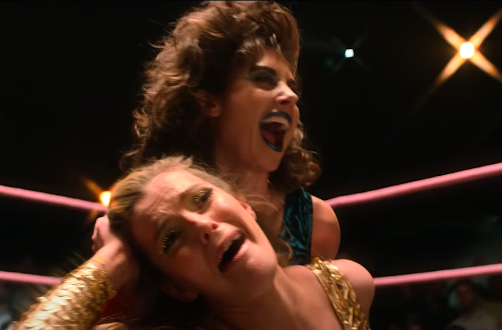 A fight between Zoya the Destroya and Liberty Belle on GLOW