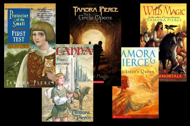 Collage of several Tamora Pierce books
