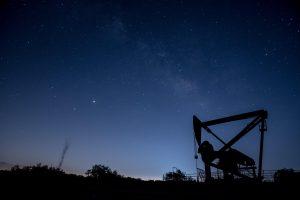 texas oil drill at night