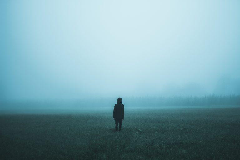 person in misty field
