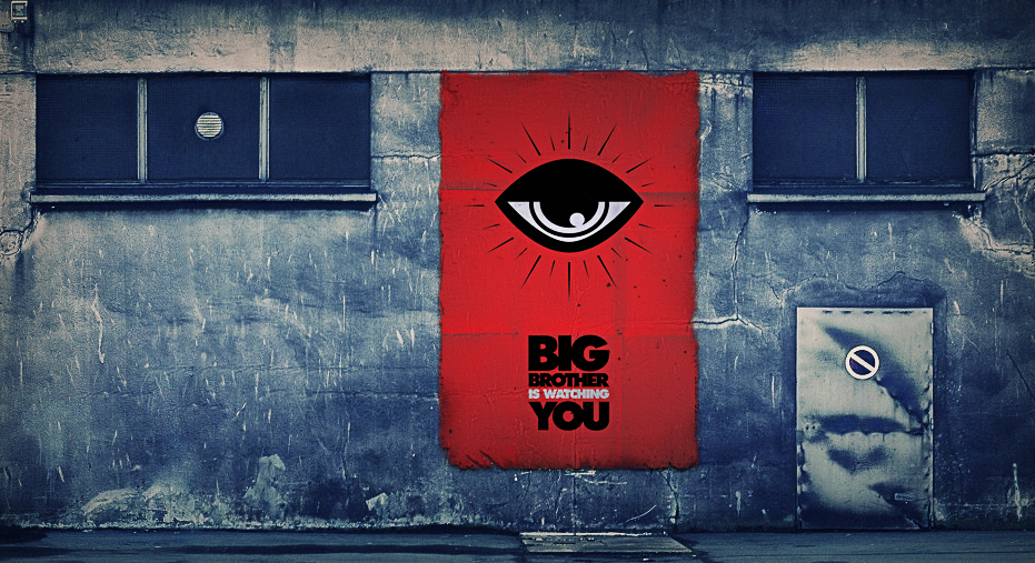 "Grey wall with red square reading ""Big Brother is watching you"" with an eye icon"