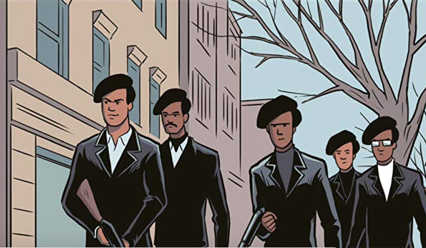 Drawing of five Black men in berets, two with rifles, on a city street