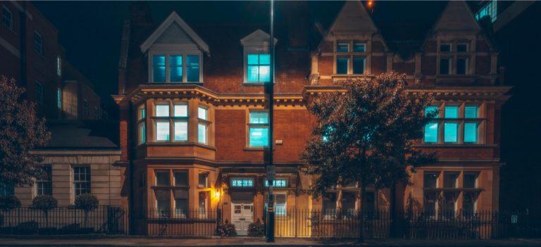 windows glowing at night