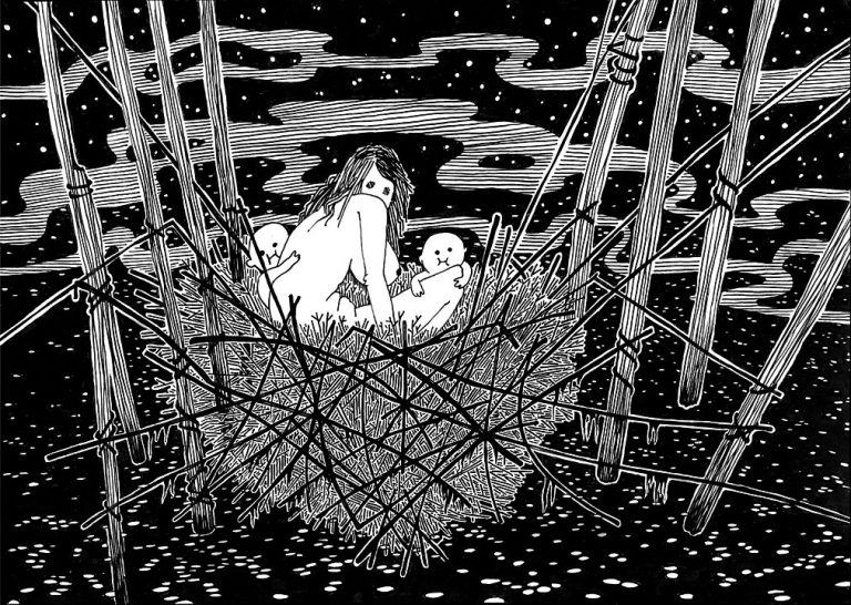 Ink drawing of a woman sitting in a nest with two babies, looking spooky