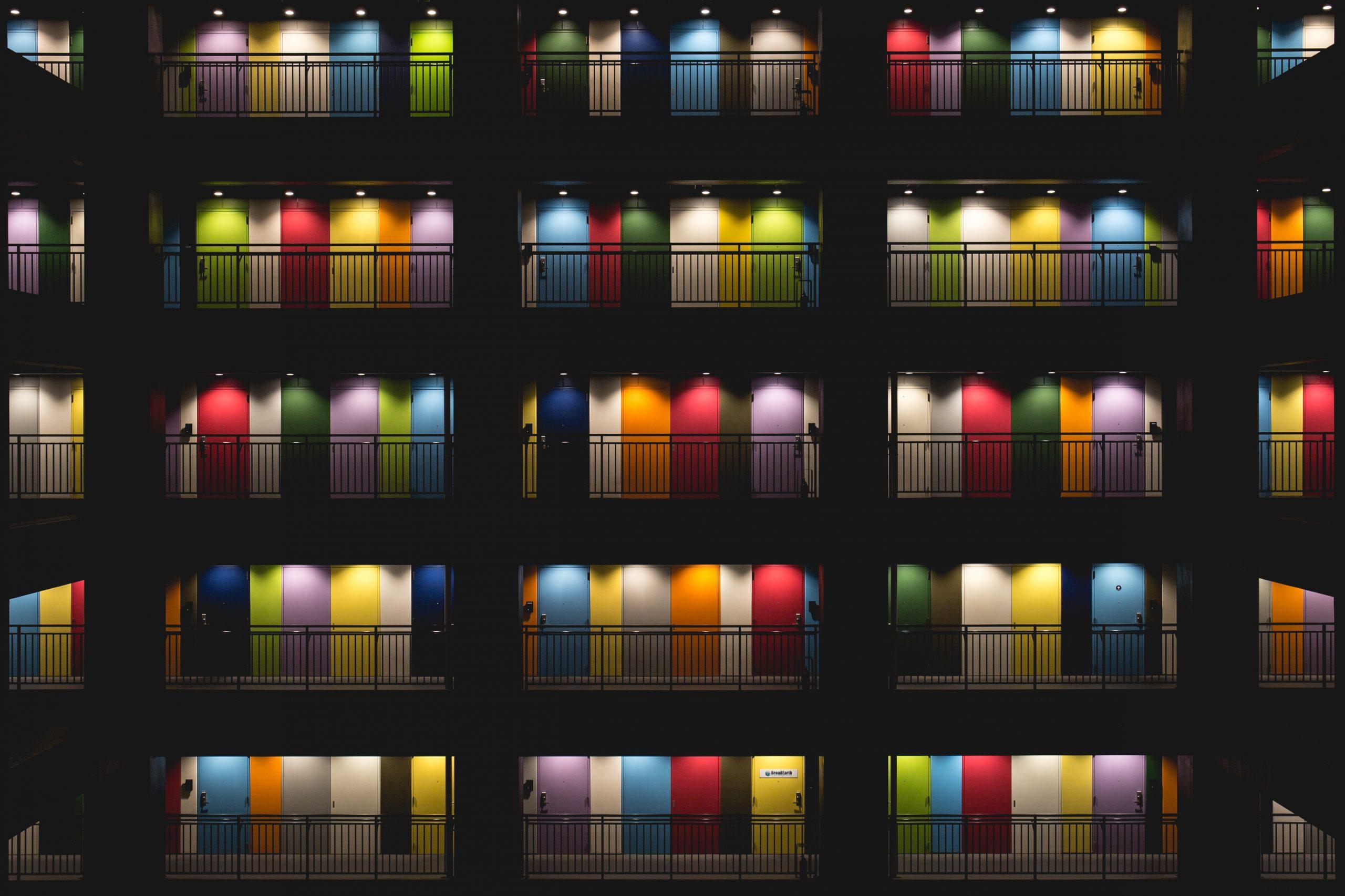 colorful apartment doors