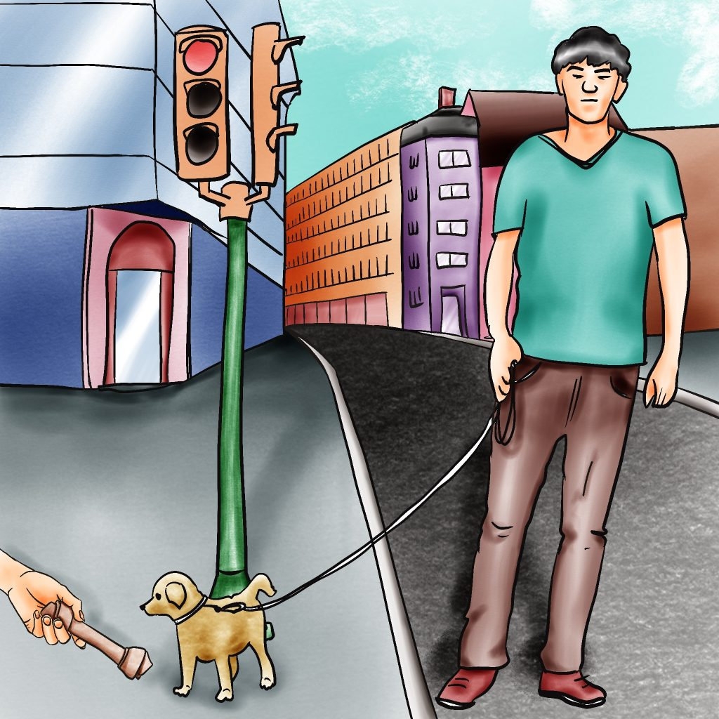 Man with light skin and black hair walking a small yellow dog. A hand is offering the dog a rawhide bone from the bottom left, as if holding out a mic to interview it.