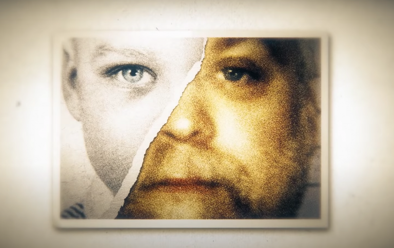 Making a Murderer screenshot combining a child's face and the face of accused murderer Steven Avery