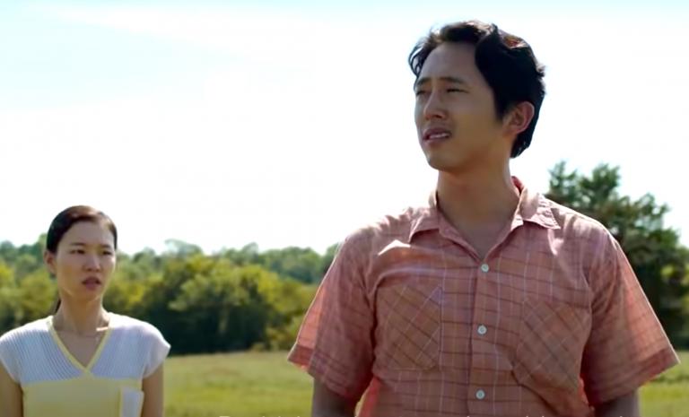 Han Ye-Ri and Steven Yeun in Minari