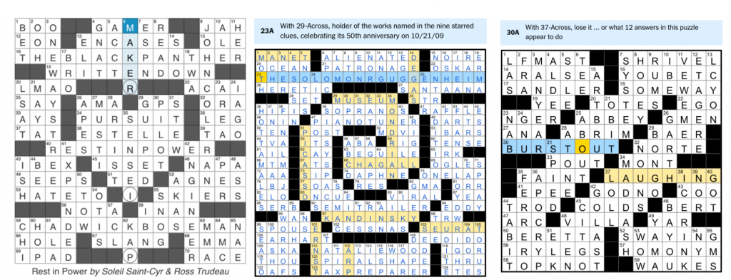 "Heart-shaped crossword puzzle grid celebrating Chadwick Boseman (59 across); spiral-shaped crossword grid featuring ten artist names highlighted in yellow; and the grid described in the piece featuring ""LFMAST"" and ""LYCON,"" as well as other clues missing the letters HA, and the revealer clues BURSTOUT LAUGHING"