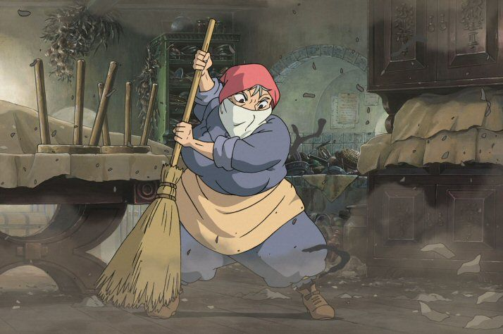 An old woman furiously sweeping a very filthy castle