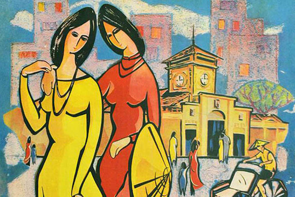 Stylized drawing of two women walking in pre-war Vietnam