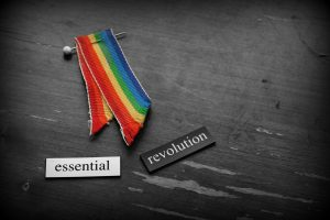"Rainbow ribbon and two magnetic poetry tiles reading ""essential revolution"""
