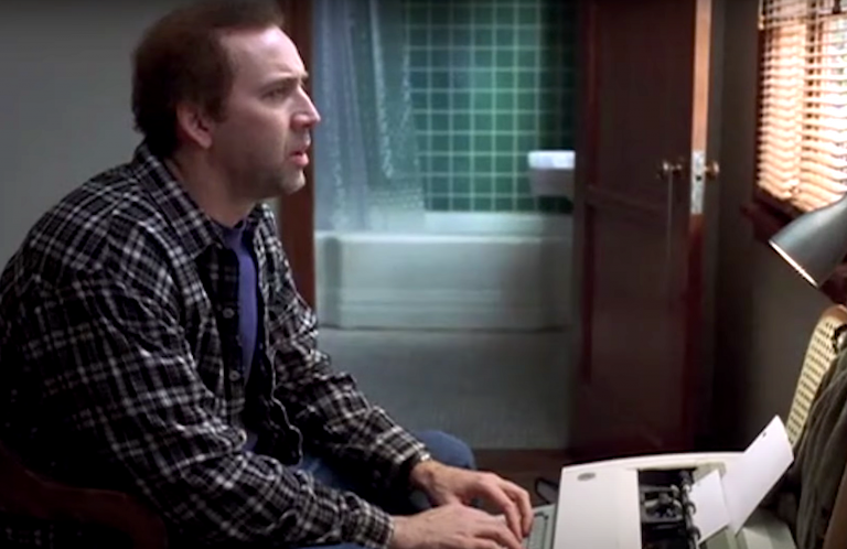 Nicolas Cage in Adaptation typing on a typewriter
