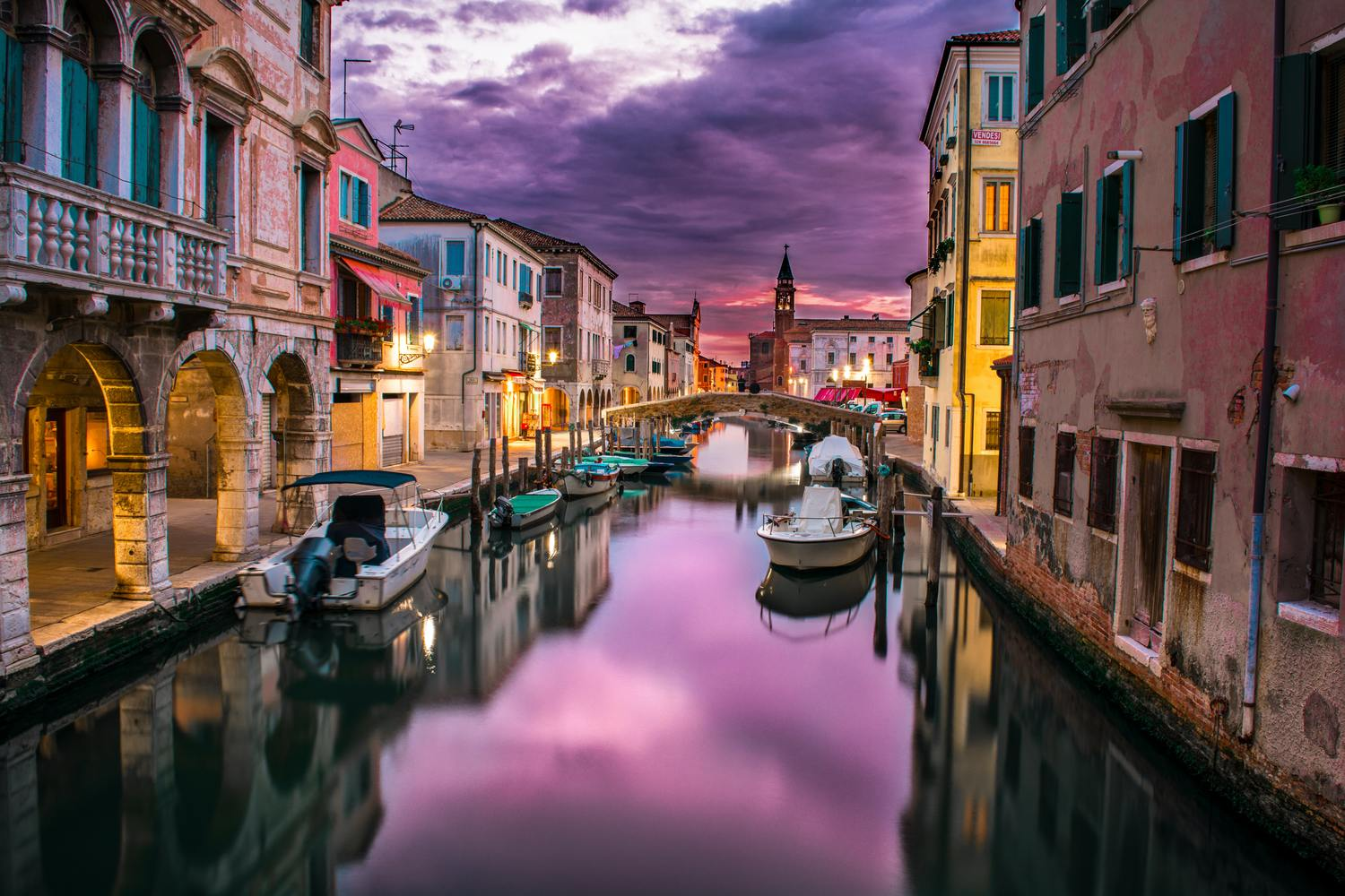 purple sunset venetian canal