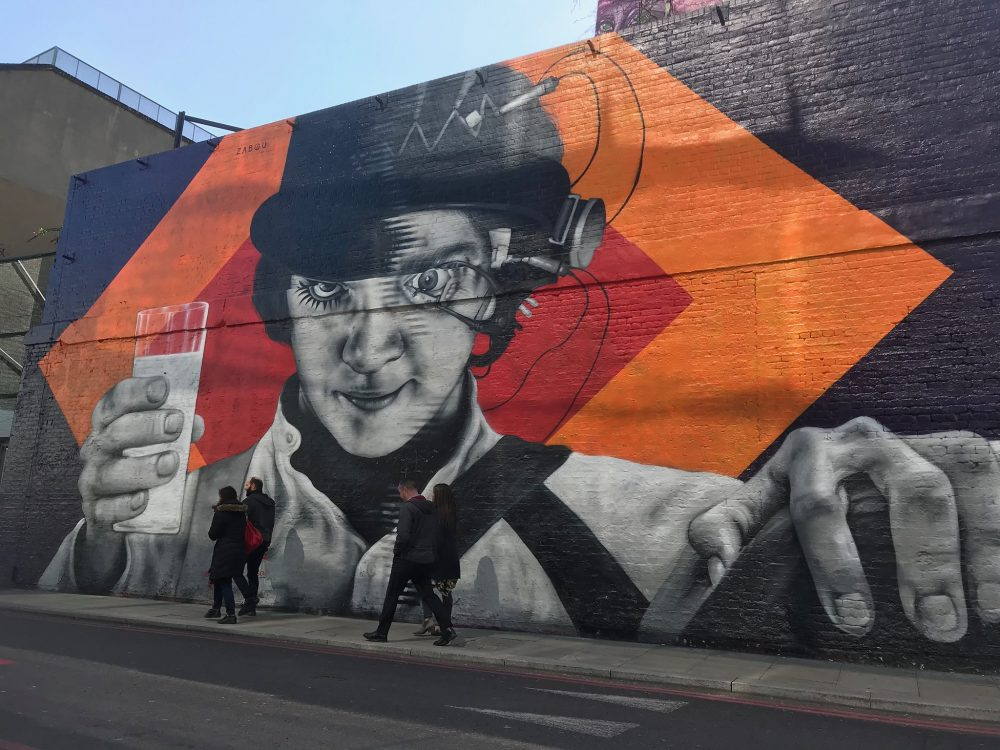 "Mural showing Malcolm McDowell as Alex in Kubrick's film ""A Clockwork Orange"""