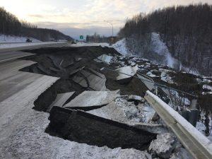 Road crumbling into chunks