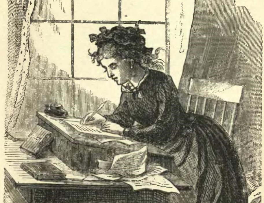 Black and white illustration of a young woman (Jo March) in 19th-century dress, writing with ink and quill on a piece of paper, surrounded by other scraps of paper