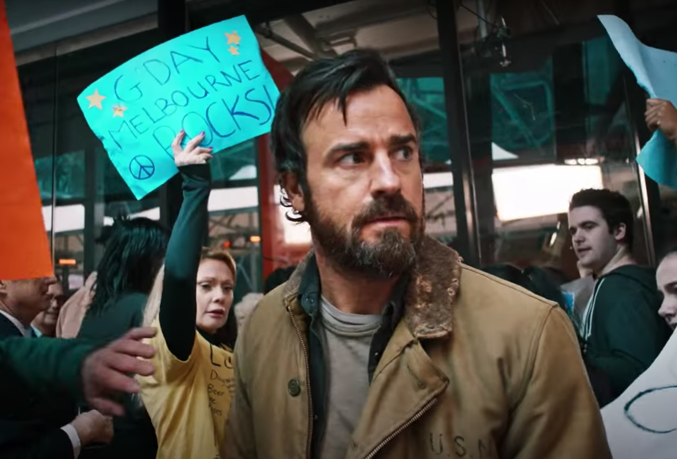 Screenshot from The Leftovers showing Justin Theroux with a beard and a tan jacket