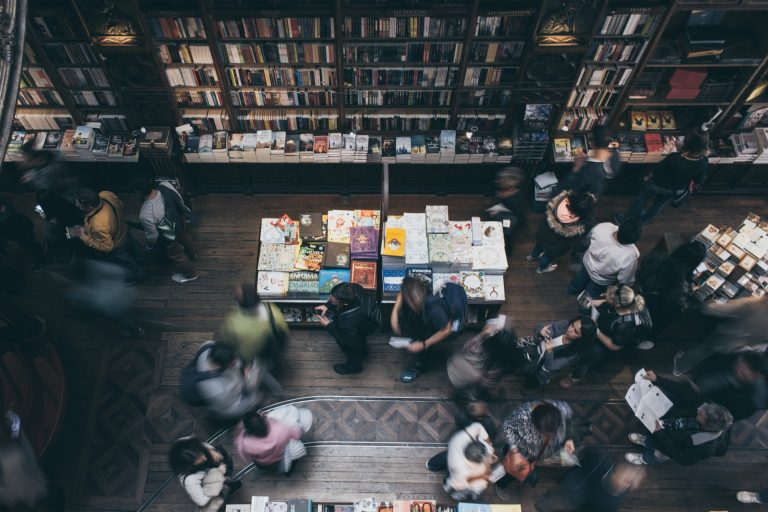 bustling bookstore