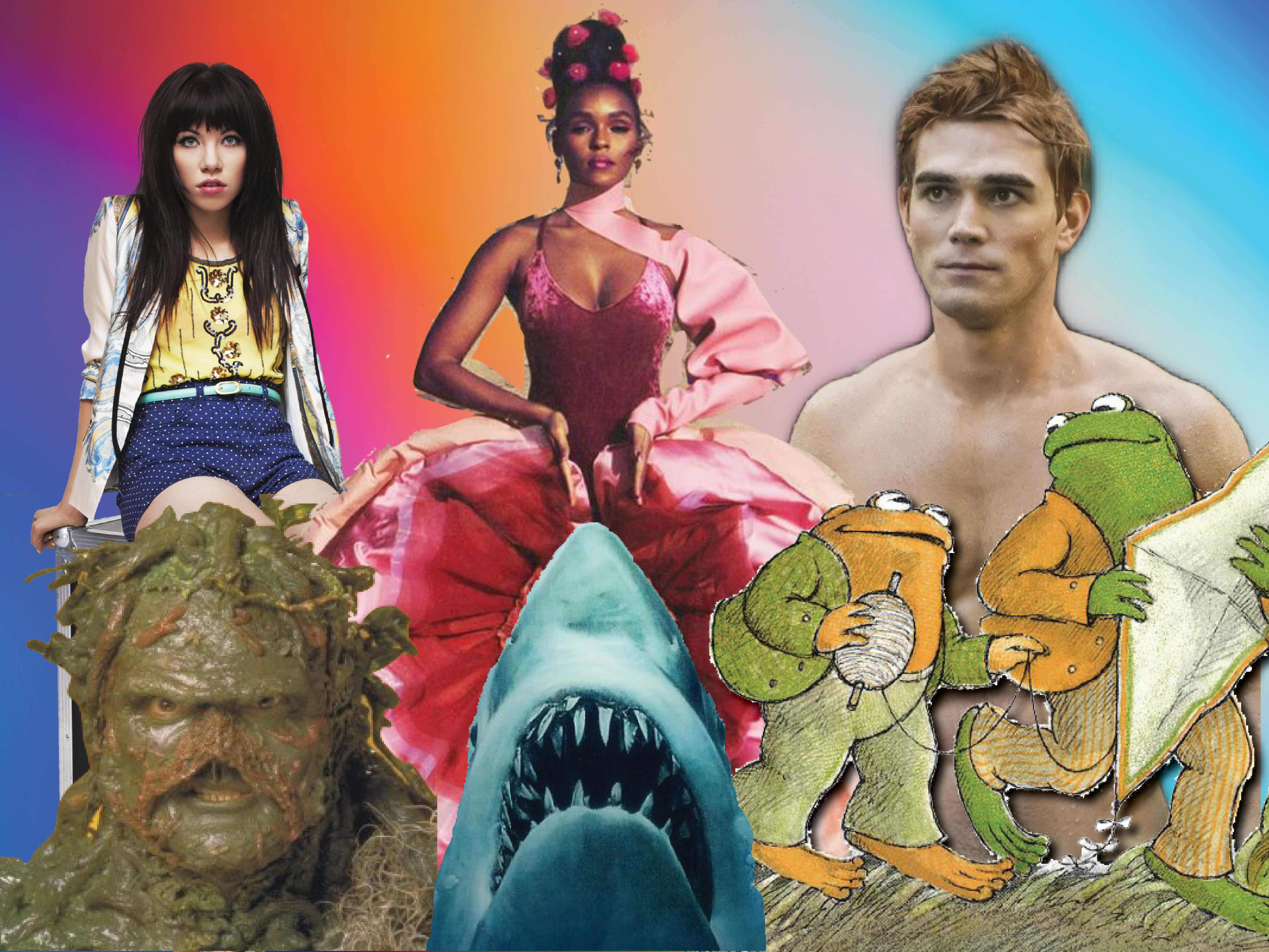 Cut outs of Carly Rae Jepsen, Janelle Monae, KJ Apa, Swamp Thing, Jaws, and Frog and Toad against a rainbow backdrop