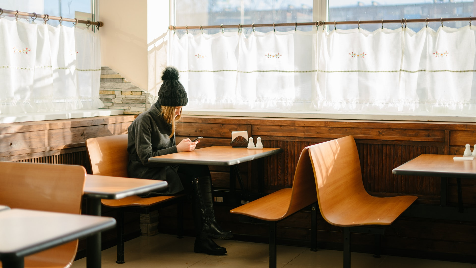 Woman alone at diner