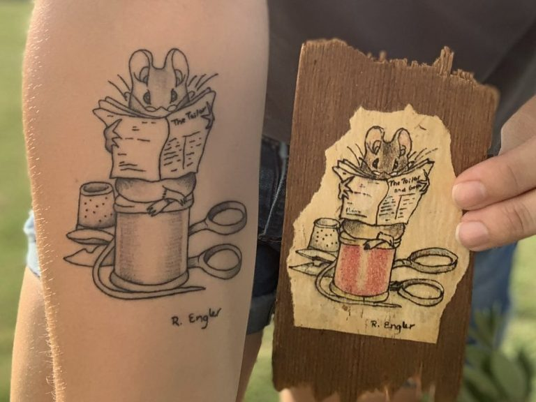 Claire Roehl's Tattoo of The Tailor of Gloucester by Beatrix Potter