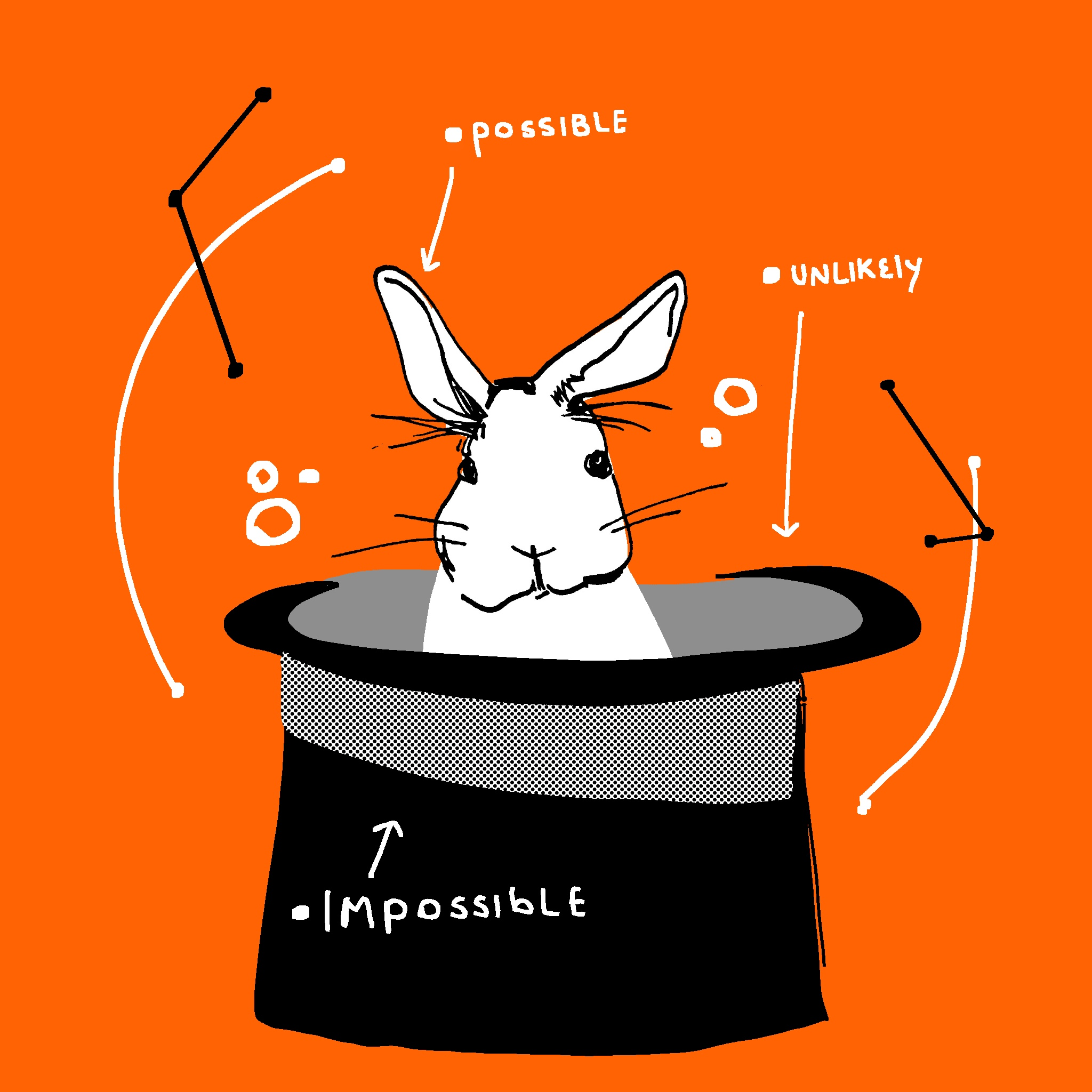Illustration of a bunny in a magician's hat